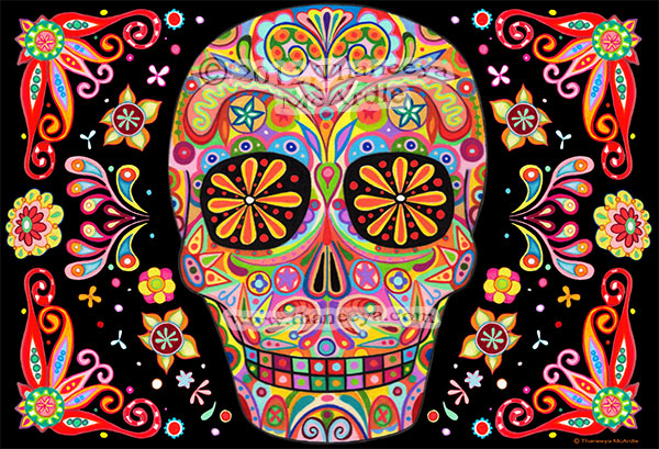 Detailed Sugar Skull Art by Thaneeya