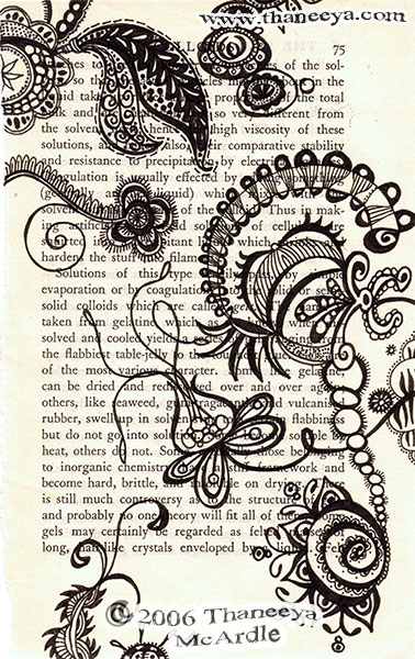 Ink Drawing On Book Page by Thaneeya