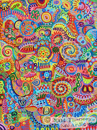 Detailed Colorful Abstract Art Painting by Thaneeya