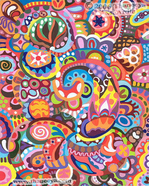Colorful Detailed Tribal Art Painting by Thaneeya