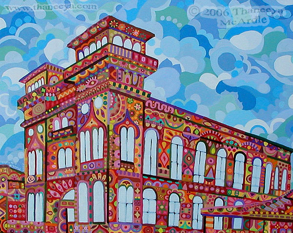 Colorful Abstract Architecture Painting by Thaneeya