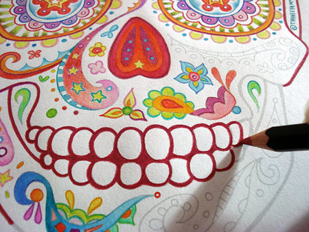 Colored Pencil Sugar Skull Coloring Page