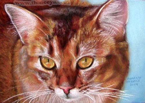 Pastel Cat Painting Photorealism by Thaneeya