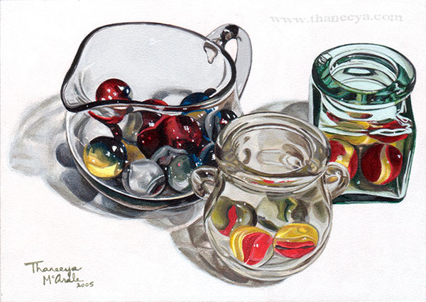 Marbles Glass Photorealism Painting by Thaneeya