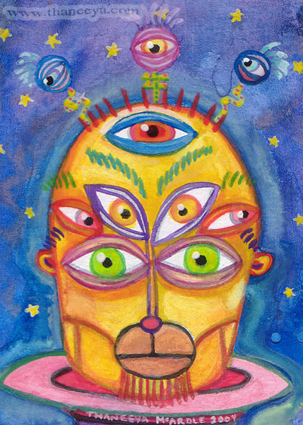 Whimsical Alien Art Painting by Thaneeya