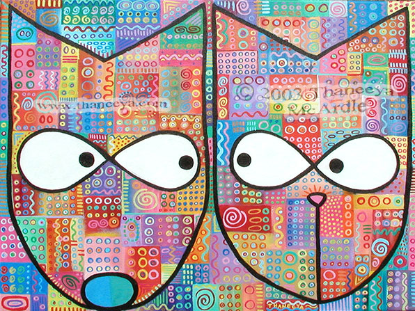 Whimsical Abstract Cat Dog Painting by Thaneeya