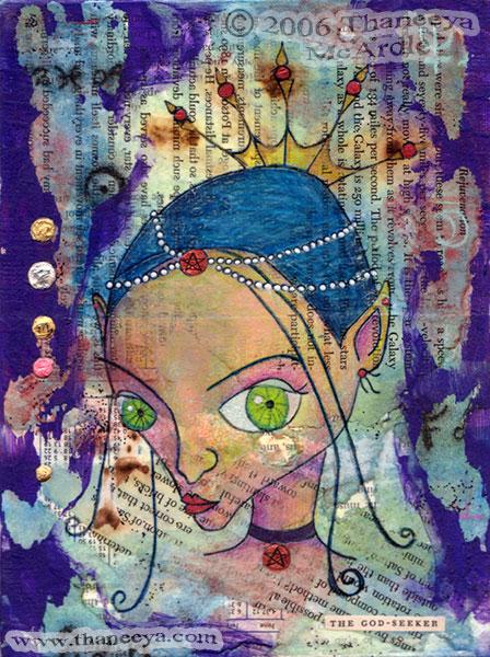 Whimsical Fairy Mixed Media Portrait Art by Thaneeya