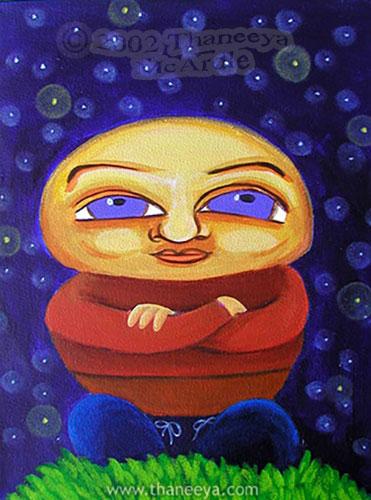 Whimsical Stargazer Portrait Painting