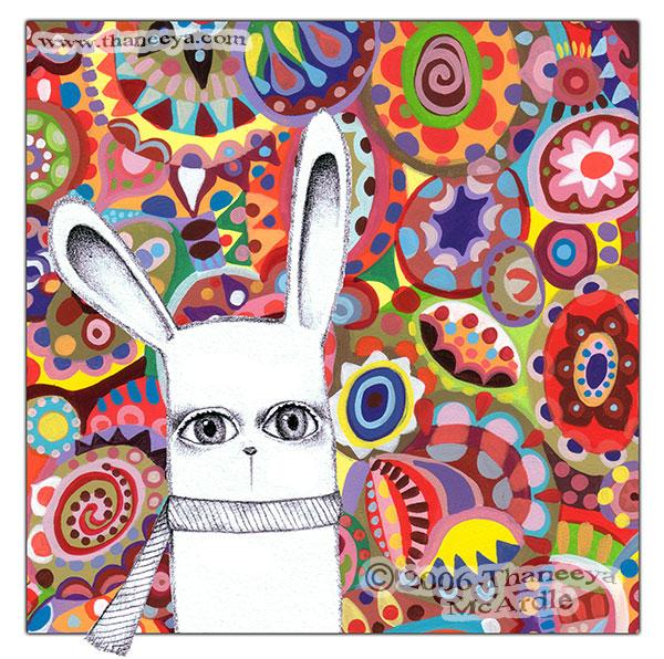 Cute Whimsical Bunny Art by Thaneeya