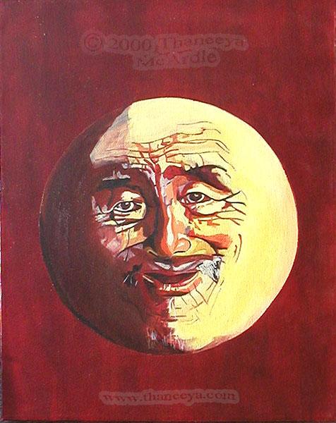 Moon Man Acrylic Painting by Thaneeya