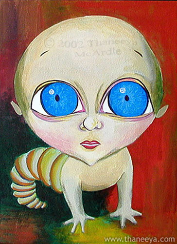 Quirky Baby Portrait Painting by Thaneeya