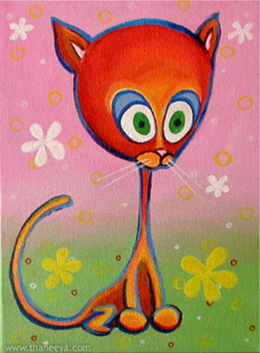 Cute Cat Painting by Thaneeya McArdle