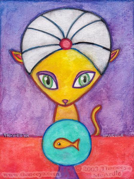 Cute Cat Watercolor Painting by Thaneeya