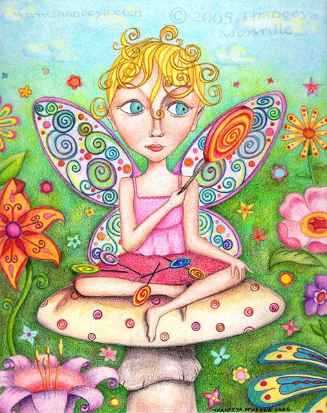 Cute Fairy Drawing Art by Thaneeya