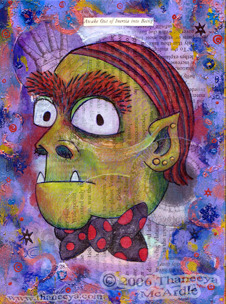 Cute Monster Mixed Media Art Painting by Thaneeya