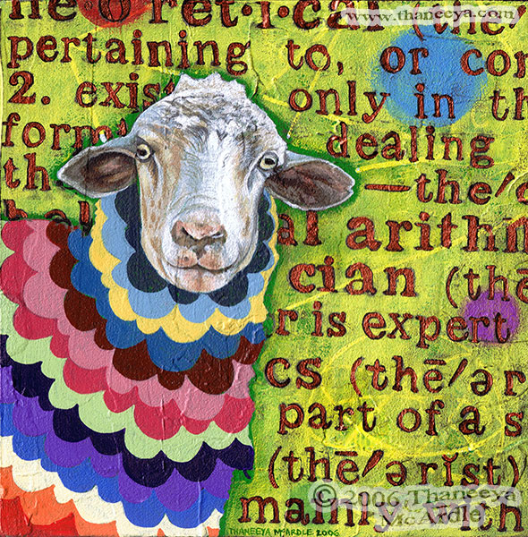 Funky Colorful Sheep Painting by Thaneeya