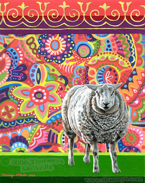 Colorful Funky Sheep Painting by Thaneeya