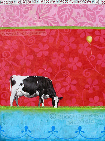 Colorful Cow Painting by Thaneeya McArdle