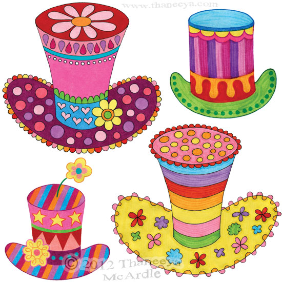 Groovy Fancy Hats Drawing by Thaneeya