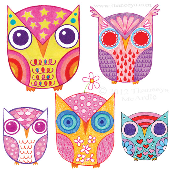 Cute Whimsical Owl Drawings by Thaneeya