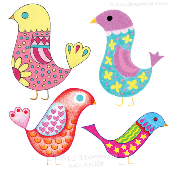 Cute Whimsical Bird Drawings by Thaneeya