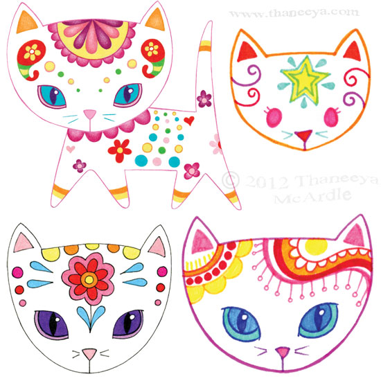 Cute Groovy Colorful Cats by Thaneeya