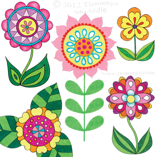 Cute Colorful Flowers Drawing by Thaneeya