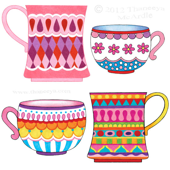 Colorful Tea Cups Drawings by Thaneeya