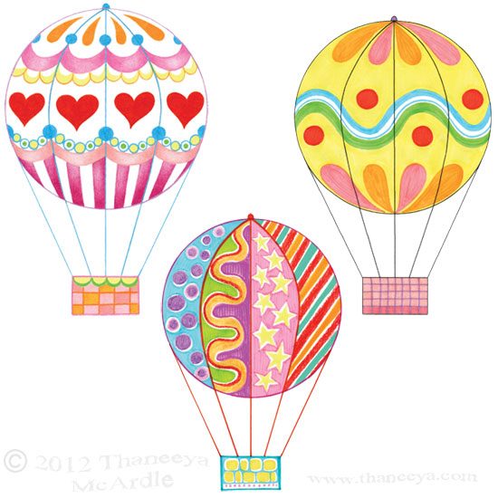 Colorful Hot Air Balloons Drawings by Thaneeya