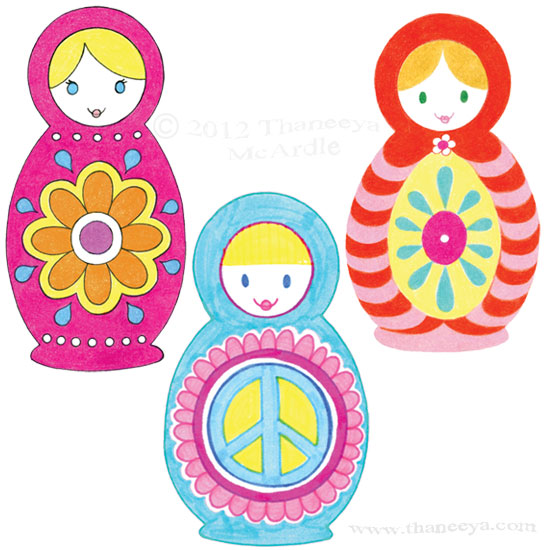 Colorful Russian Nesting Dolls Drawing by Thaneeya