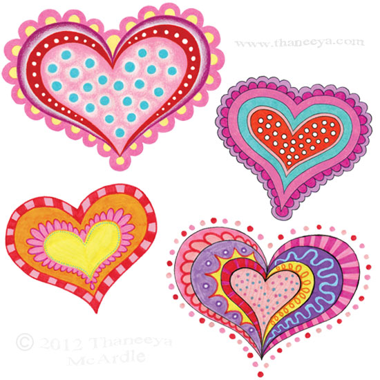 Colorful Groovy Hearts Drawing by Thaneeya