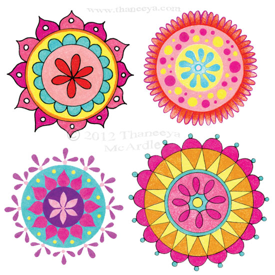 Groovy Colorful Mandala Drawings by Thaneeya