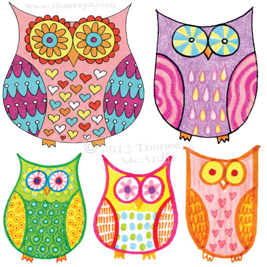 Groovy Colorful Owls Drawings by Thaneeya