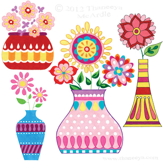 Groovy Colorful Flowers in Vases Drawing by Thaneeya