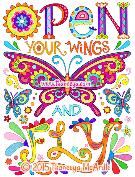 Open your wings and fly from good vibes coloring book