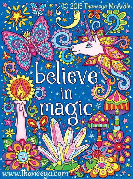 Believe in Magic Coloring Page by Thaneeya McArdle
