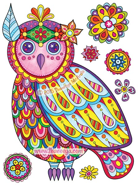Free Spirit Coloring Book Owl by Thaneeya McArdle