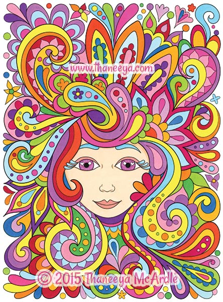 Colorful Lady from Free Spirit Coloring Book