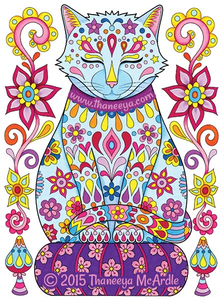 Follow Your Bliss Coloring Book Cat by Thaneeya
