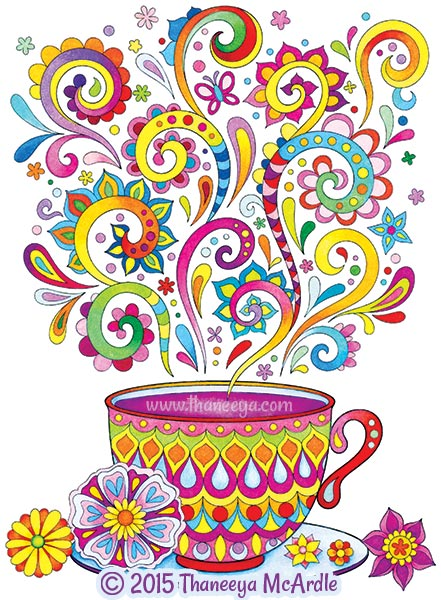 Follow Your Bliss Coloring Book Tea Cup by Thaneeya
