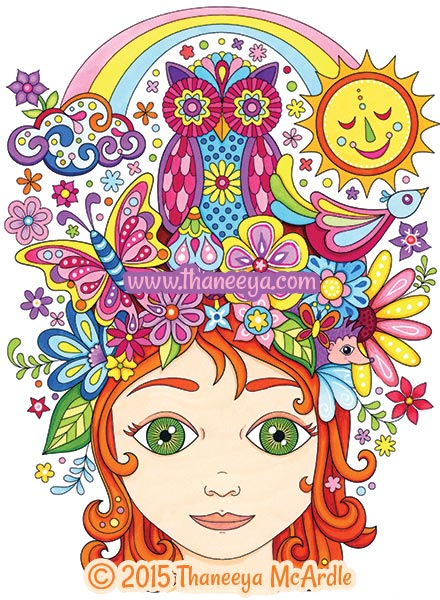 Follow Your Bliss Nature Girl Coloring Page by Thaneeya