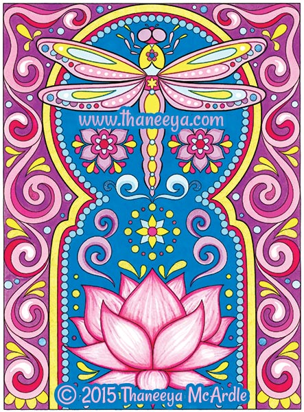 Lotus and Dragonfly Coloring Page by Thaneeya McArdle
