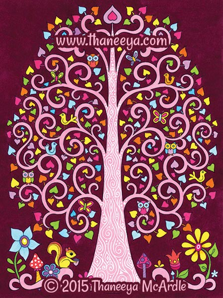 Follow Your Bliss Coloring Book Tree by Thaneeya