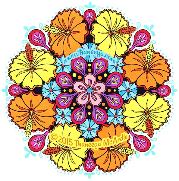 Nature Flower Mandalas Coloring Page by Thaneeya