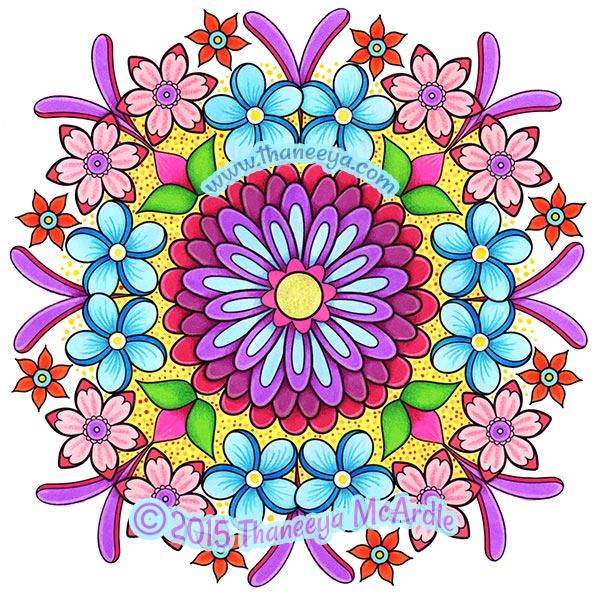 Floral Mandala Coloring Page by Thaneeya McArdle