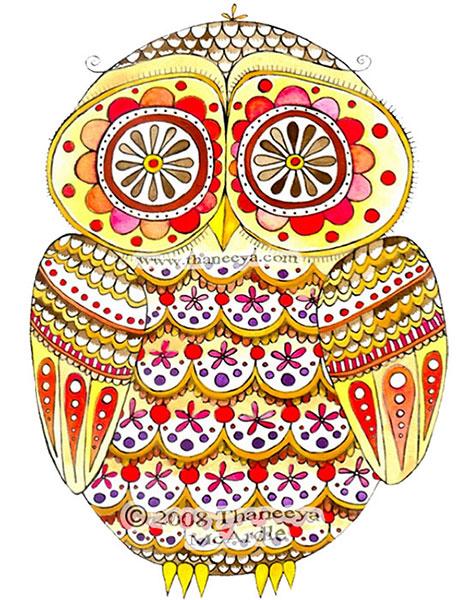 Retro Cute Owl Art by Thaneeya
