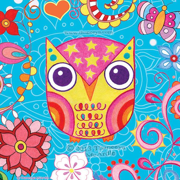 Funky Colorful Owl Art by Thaneeya