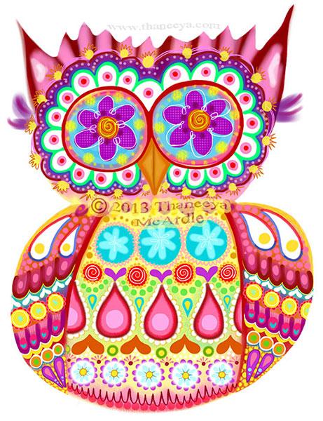 Cute Owl Art by Thaneeya