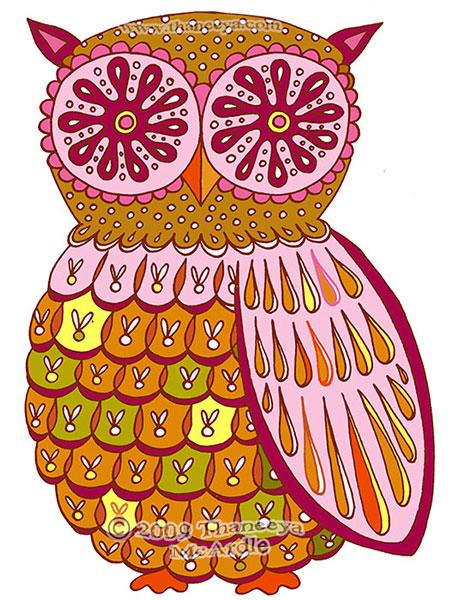 Cute Retro Owl Art by Thaneeya