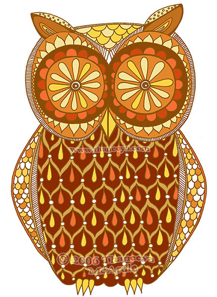 Cool Retro Owl Art by Thaneeya McArdle